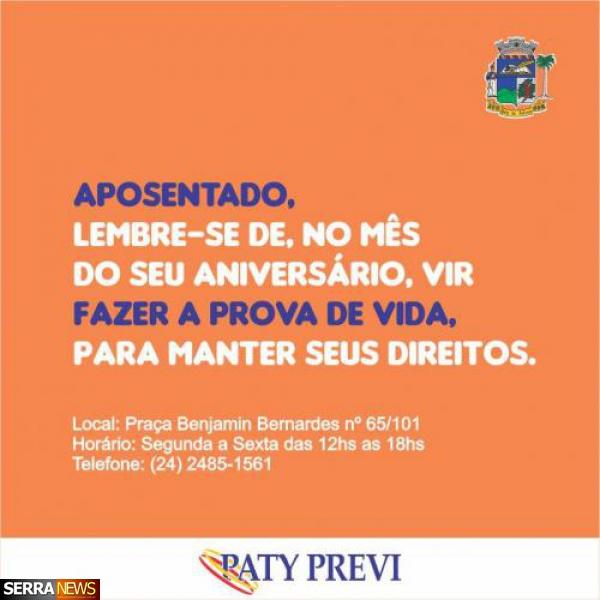 PATY PREVI INICIA CONVOCAÇÃO PARA PROVA DE VIDA