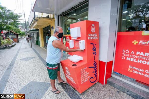 Prefeitura de Miguel Pereira instala cabines sanitárias no município